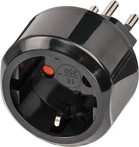 Brennenstuhl Reisestecker / Reiseadapter (Reise-Steckdosenadapter für: Schweiz Steckdose und Euro Stecker) Farbe: schwarz