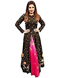 Fashion World Women's Cotton Silk Dress Material (FASHION WORLD NEW GOWN_Multicolor_Free Size)