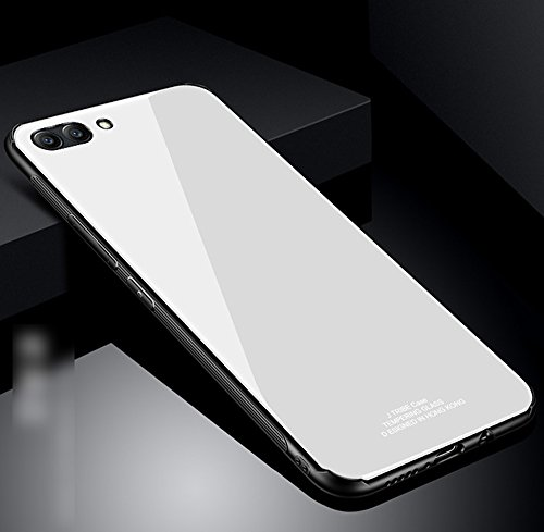 Kompatibel mit Huawei Honor View 10 Hülle,Huawei Honor V10 Hülle,TPU Frame Gehärtetes Glas Back Schutzhülle Case Silikon Bumper Hülle Handy Hülle Tasche Schutzhülle für Huawei Honor View 10 Hülle,Weiß Frame Handy