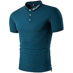 Gdtime Hommes Polo Shirts à Manches Courtes Coton Polo T-Shirt d'Eté Slim Fit Casual (Vert, L)