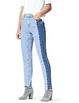 [Sponsorizzato]FIND Mom Jeans con Pannelli a Contrasto Donna