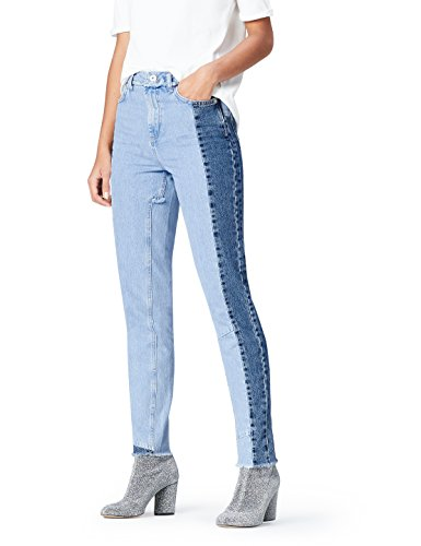 FIND Jeans Damen Mom-Jeans mit Patchwork und Distressed-Look, Blau (Mid Blue), W26/L32 (Herstellergröße: X-Small) (Jeans Baumwolle Distressed)