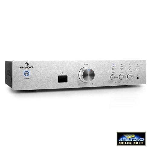 Auna AV2-CD508BT • Amplificateur Audio HiFi • Amplificateur Home-cinéma • Chaîne stéréo • Amplificateur stéréo • 600 Watt de Puissance maximale • Interface Bluetooth • Aux-in • Télécommande • Argent