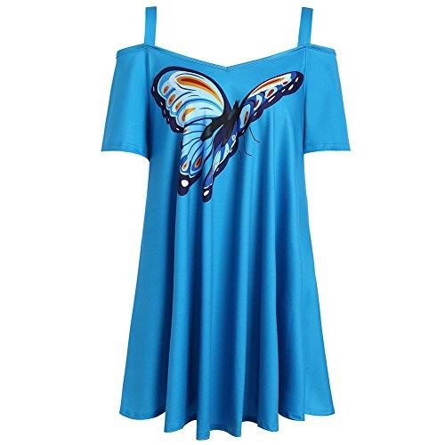 iBaste Damen Chiffon Tshirt Schmetterling Floral Drucken Blusen  Schulterfrei Kurzarm Oberteil Sommer Große Größen BlauSchmetterling