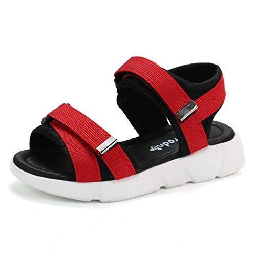 Junge es Mädchen' s Summer Beach Outdoor Lightweight Open Toe Sport Sandalen (Kleinkind/Kleines Kind) (Schuhe Rot-glitzernden Kinder)