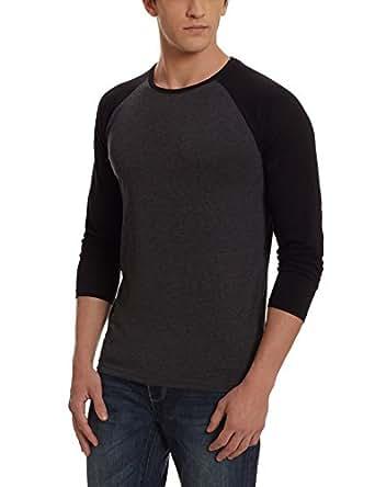 Highlander Men's Solid Slim Fit T-Shirt (HLTS001134_X-Large_Charcoal)