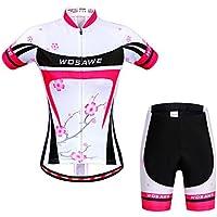 LSKCSH Flor del ciruelo Ciclismo de las mujeres transpirable jerseys de secado rápido conjunto Ciclismo jersey de ciclo de manga corta chaqueta 4D amortiguador acolchado pantalones cortos apretados (conjunto, S)