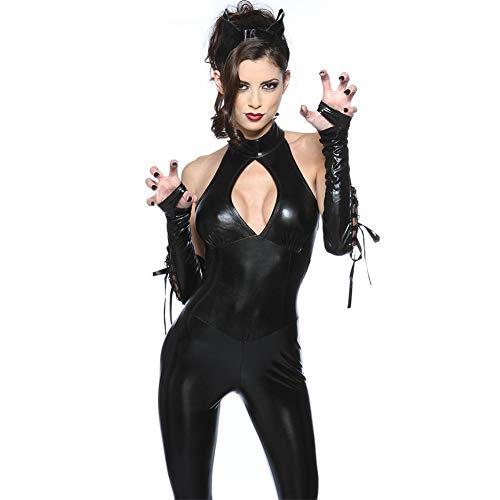 CHB Leder-Sektion Einteiliges, Eng Anlieges Katzenmädchen Einteiliges Kleid Nachtclub Pole Dance Hot Dance Kleid Sexy Bar Service,Black