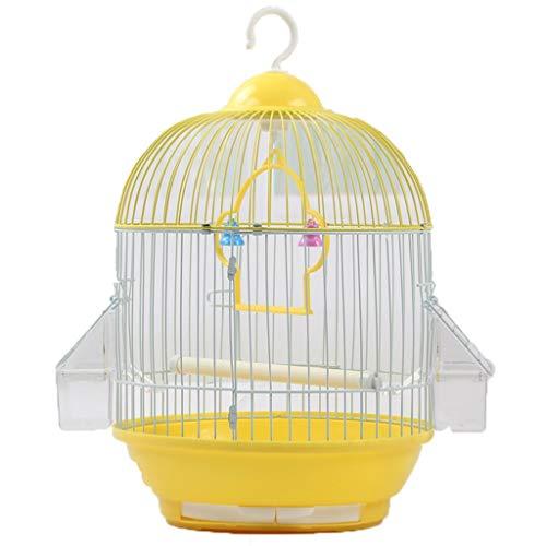 Runder kleiner Vogelkäfig-Schmiedeeisen-Metallvogelkäfig-Tiger-Haut-Perle-Papagei-Akazien-Vogelkäfig (Color : Yellow)