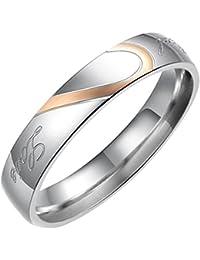 Flongo Real Love Coeur Acier Inoxydable Bague Anneaux Valentin Amour Couple Mariage Engagement Promesse Homme Femme Taille Optionnel