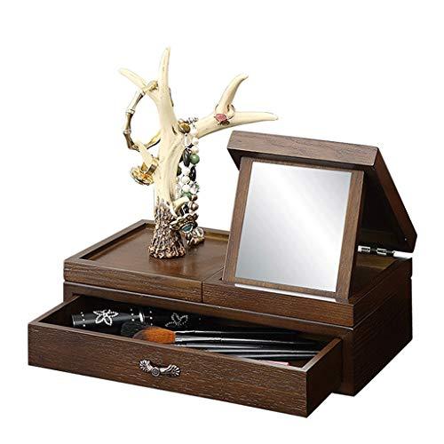 Holz Schmuckschatulle Mit Spiegel Kosmetik Fall Schmuck Aufbewahrungsbox Prinzessin Schublade Box Schmuck Ständer Lagerregal Abnehmbares Geschenk (Color : WALNUT COLOR, Size : 28 * 14 * 25CM) -