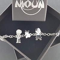 Bracciale personalizzato con 3 componenti della tua Famiglia con incisione gratuita di nomi o inziali, in argento 925.