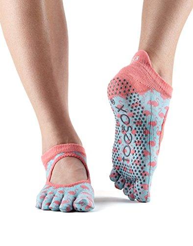 Grip Toesox Bellarina Calcetines Con Dedos, Calcetines De Baile Y Se Puede Utilizar Para Bares, Yoga, Pilates, Fitness - 1 Par De Calcetines Flamingo Antideslizantes