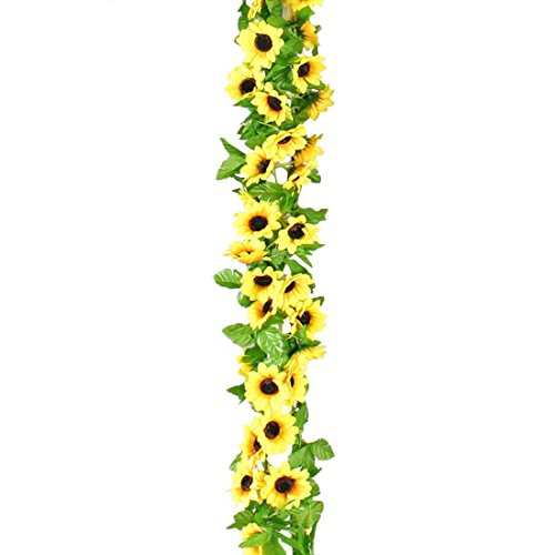 Calcifer 2Sets 260cm Seide Sonnenblume Vines Girlande Künstliche Blumen Blumenstrauß für Home Garden Room Hotel Party Hochzeit Dekoration