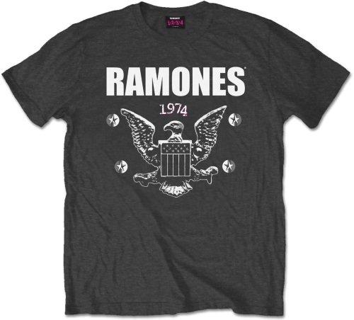 Ramones 1974 Eagle - Camiseta manga corta para hombre, color grey (charcoal), talla M