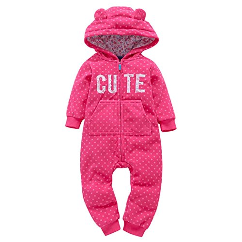 SHOBDW Girls Rompers, Infant Baby Boys Girls Autumn Winter Thicker Print Hooded Romper Jumpsuit Outfit Kid Clothes (0-6 Months, Hot Pink)