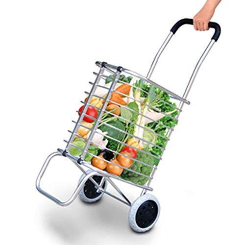 , ZGL Trolley Leichte Einkaufswagen Trendy Faltbare Zusammenklappbare Push Pull Carts Tragbare Hand Auto Hand Auto ()