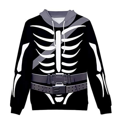 Xmiral Kapuzenpullover Herren Digital Totenkopf 3D Gedruckte Langarm Sweatshirt mit Kapuze Hoodie Lose Pullover Sportbekleidung - Machen Sie Ein Roboter Kostüm