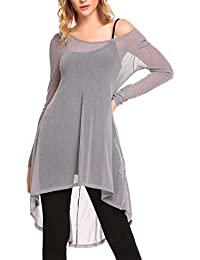Parabler Damen Sexy Transparent Shirt Tunika Bluse mit Tüll Mesh Langarm  Asymmetrisch Oversize… 9afcbe691a