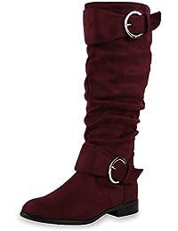 napoli-fashion Gefütterte Damen Schuhe Overknees Metallic Winter Stiefel Leder-Optik Burgund Metallic 37 Jennika SasH9