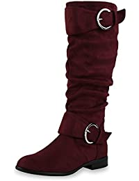 napoli-fashion Gefütterte Damen Schuhe Overknees Metallic Winter Stiefel Leder-Optik Burgund Metallic 37 Jennika