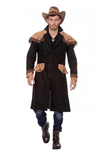 Kutscher Kostüm - shoperama Langer Western Cowboymantel mit Schulter-Cape Schwarz/Braun für Herren Cowboy-Kostüm, Größe:56