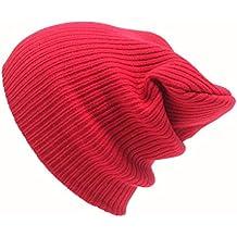Tongshi Hombres Mujeres Beanie casquillo del Knit del esquí Hip-Hop de invierno de lana unisex sombrero caliente (rojo)