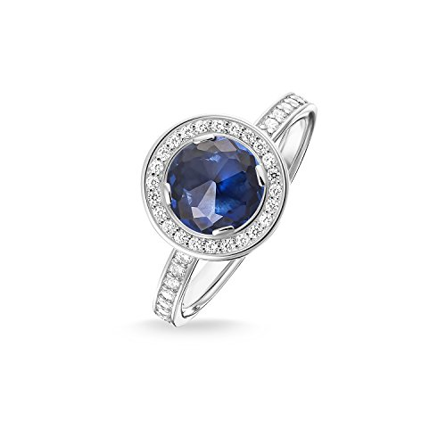 Thomas Sabo Damen-Ring Glam & Soul Luna 925 Sterling Silber Zirkonia dunkelblau Gr. 52 (16.6) TR1971-050-32-52