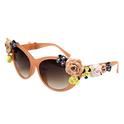 Providethebest Fleur Décor femmes fille ronde Cadre en plastique en forme de  lunettes de soleil UV400 8d72f960cede
