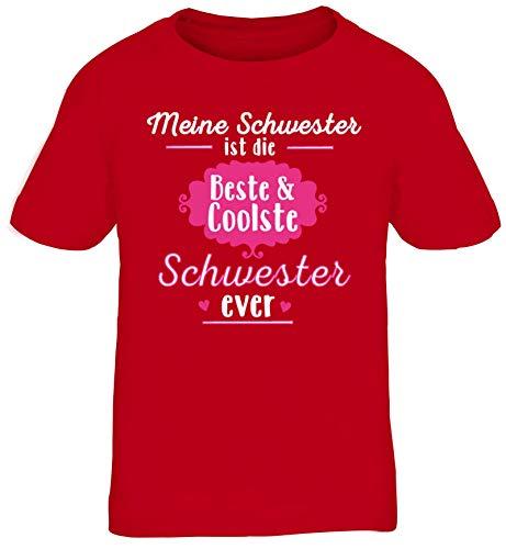 Lustige Geschenkidee Geschwister Kinder T-Shirt Rundhals Mädchen Jungen Coolste Schwester Ever, Größe: 152/164,rot
