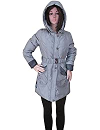 Kotak Sales Imported Stylish Women Winter Coat Warm Jacket Mid Length Overcoat Detachable Hood for Ladies Girls (Size 3XL) Grey