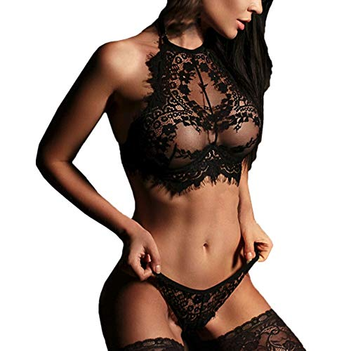 Amlaiworld Donne Lingerie Corsetto Bendaggio Pizzo Push up Reggiseno