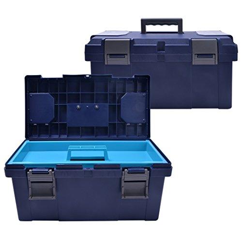 QHP Putzbox Giant mit herausnehmbarem Innenteil und Griff in Kontrastfarbe (Navy)