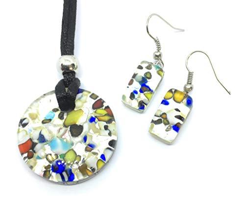 Juego de Joyas de Cristal de Murano, Colgante de Cristal de Murano y Pendientes - Incluye Caja de Regalo y Certificado
