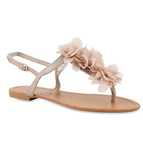 Damen Dianetten Blumen Sandalen Zehentrenner Sommer Flats Beach Zierperlen Schuhe 114996 Nude 42 | Flandell®