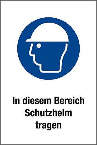 """Gebotsschild\""""in Diesem Bereich Schutzhelm Tragen\"""" - Aluminium - 30x45 cm"""