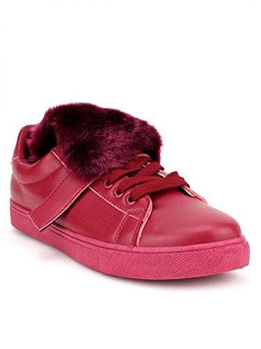 Cendriyon, Basket SLIPPERS Bordeaux Mode Chaussures Femme Bordeaux