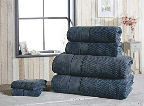 Rapport Bettwäsche Heaven Royal Velvet 550gsm 100% Baumwolle Velour Badezimmer Handtuch Sets 2 Hand & 2 Badetuch - Denim, 1 x Hand Towel -