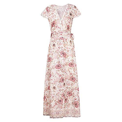 TWIFER Damen Boho V Ausschnitt Floral Sommer Party Abend Strand Langes Kleid Sommerkleid