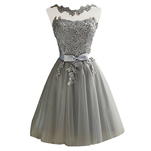 iShine® Damen Spitze Abendkleid Tüll Ärmellos Bogen Ballkleider Partykleid (Prom Abendkleider Tüll)