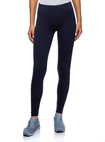 Oodji ultra donna leggings basic in maglia, blu, it 46 / eu 42 / l