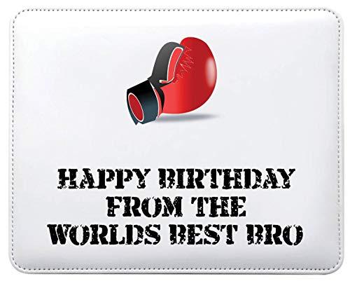 Mo17 Mauspad mit Aufschrift Happy Birthday from The Worlds Best Bro Boxhandschuhe, personalisierbar