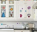ZBYLL Wall Sticker Topfpflanze Blume Schmetterling Natur schöne Fenster Handdrawing Aufkleber Vinyl PVC Dekor Dekoration DIY Home Wohnzimmer