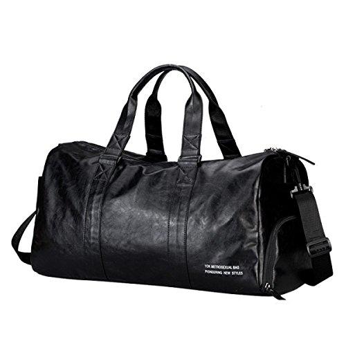 Herren Leder Business Aktentasche Deluxe Rucksack Große Laptop Schulter Handtaschen Für Reise Schule Reisetasche,Black-L (Notebook Deluxe-leder 17)