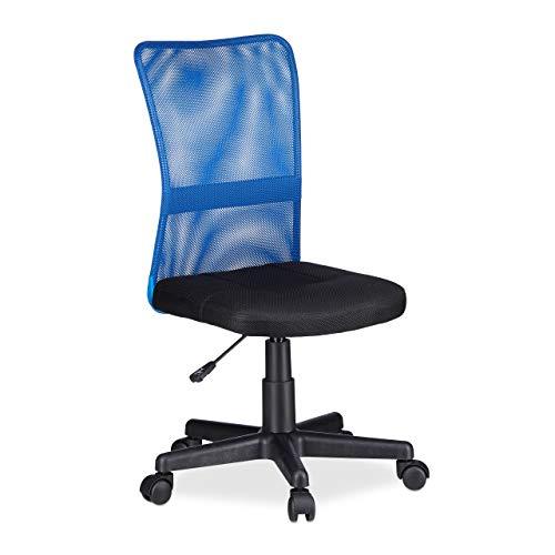 Relaxdays Bürostuhl, höhenverstellbarer Kinder Drehstuhl, ergonomisch, 90 kg belastbar, HxBxT: 102 x 55 x 55 cm, blau, Nylon, Netzstoff, Metall