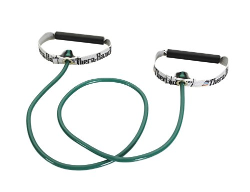 Thera-Band Professional Latex Resistance Tubing with Handles For Upper-Body Exercise, Rehab and Conditioning, Hard Handles, 48 Inch, Green, Heavy, Intermediate Level 1