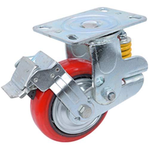 Lenkrollen 2 STÜCKE Polyurethan Caster Silent Casters Industrielle Universal-Rad Mit Bremse Büroausstattung Sitzmöbel Abriebfest Red-6 Inch Flat Bottom Front Tread Brake -