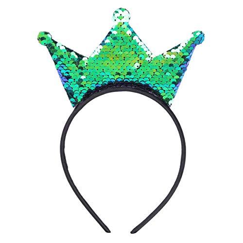 FEESHOW Erwachsene Kinder Prinzessin Krone Weihnachten Fasching Karneval Feen Kostüm Party Haarreif Haarband Accessoires Grün One Size (Rosa Und Gold Prinzessin Kostüm)