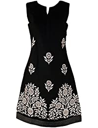 d13fe2b43 £39.99 Prime. Monsoon New ex Ladies Black Olive Green Embroidered Cotton  Tunic Shift Dress