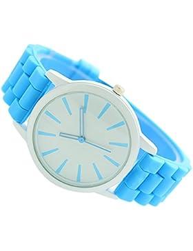 SODIAL(R)Damenuhr Klassisch Gel Silikon Gelee Uhr (Hellblau + Weisses Gesicht)